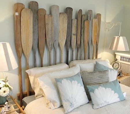 Remos de barcos, material alternativo para a cabeceira da cama