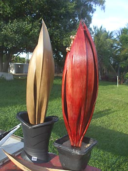 Luminárias feitas com as cascas do cacho do coqueiro