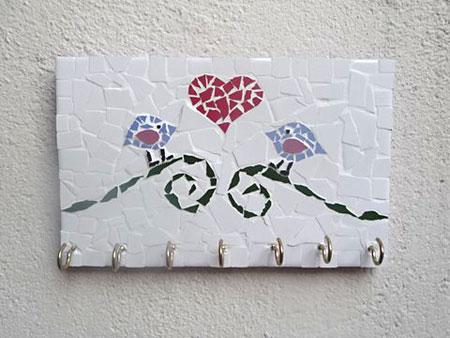 Porta-chaves com mosaico de passarinhos prontinho pra usar