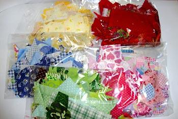 Acondicione os retalhos em sacos transparentes