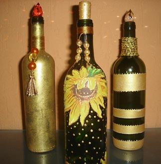 Reciclagem de garrafas com pintura e colagem