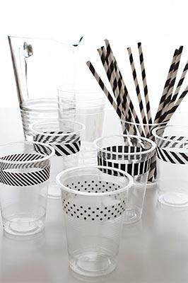 Copos decorados com washi tape