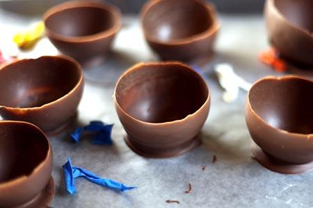 Taças de chocolate, ou mini cestos de Páscoa