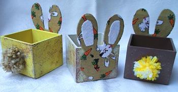 Caixinhas de madeira decoradas para a Páscoa
