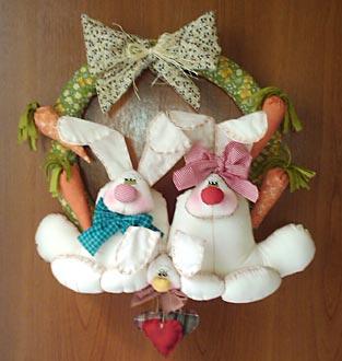 Guirlanda com casal de coelhos