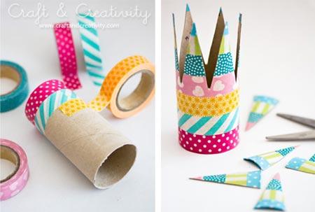 Coroas com reciclagem e uso de washi tape