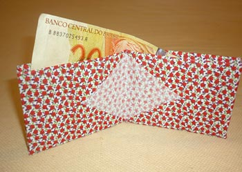 Carteira em origami de tecido