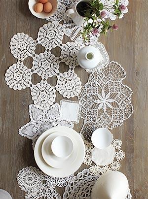 Toalhas de crochê brancas em diversos tamanhos