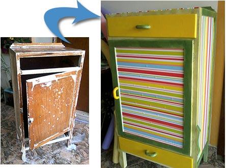 Restauração de sapateira usando adesivos e pintura