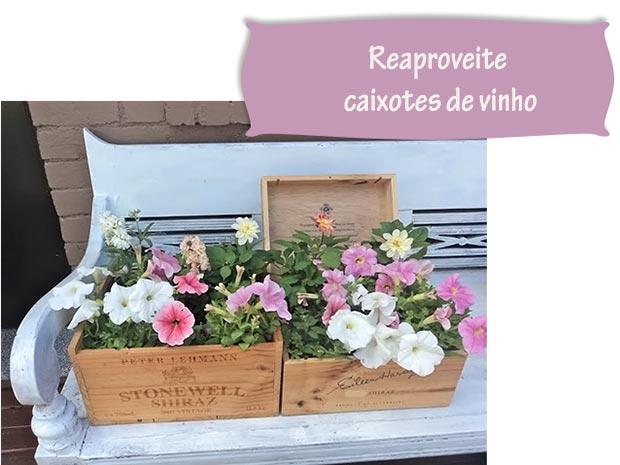 Caixas de vinho de madeira para usar como cachepôs