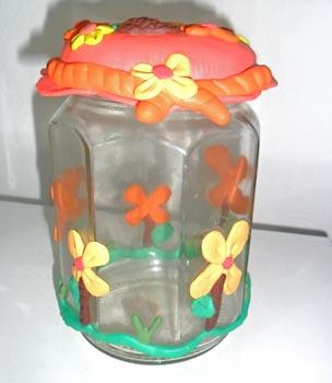 Pote de vidro decorado para organizar doces