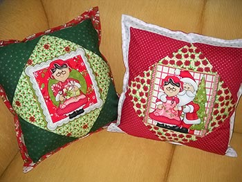 Almofada em patchwork de natal