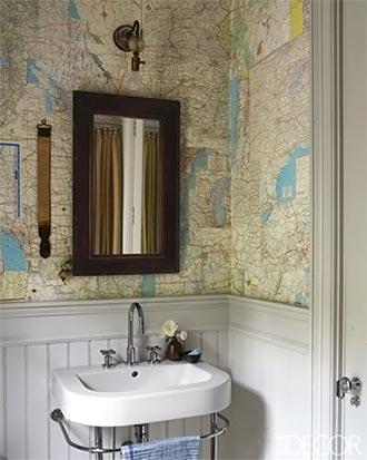 Mapas usados como papel de parede