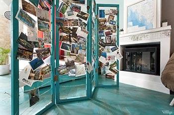 Mural de fotos feitos em estrutura de biombo