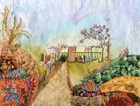 Bordado sobre tecido com aquarela e técnica crazy do patchwork