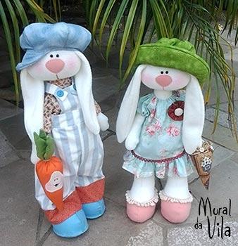Casal pascoalino, bonecos de tecido