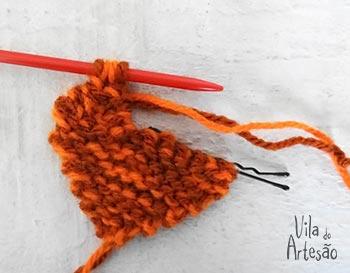 Tricote até diminuir tudo