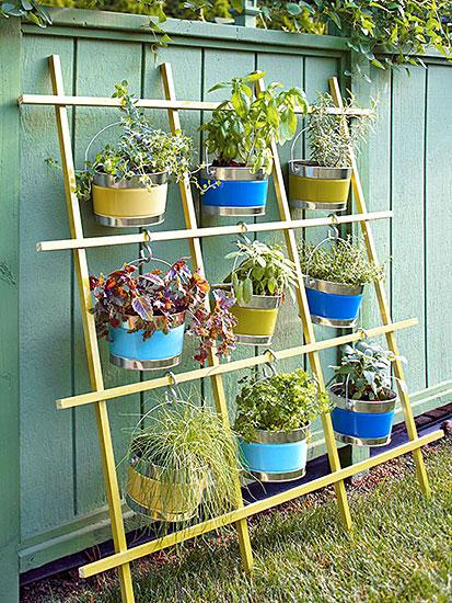 Horta vertical na treliça, dica para o jardim