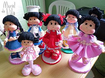 Bonecas fofuxas em EVA para festas