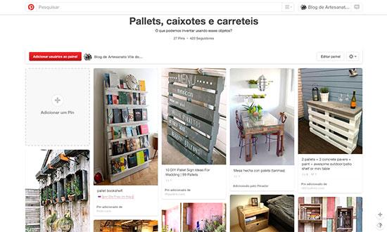 Painel pallets no Pinterest da Vila