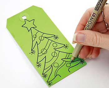 Tag com desenho de árvore de natal