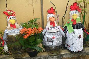 Vidros customizados como galinhas