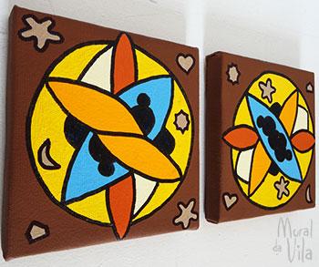 Conjunto de telas pintadas à mão