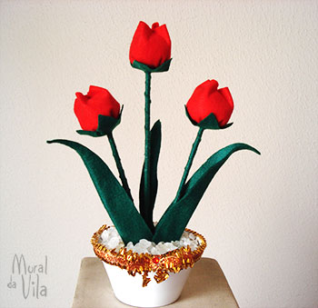 Flores de feltro para o vasinho