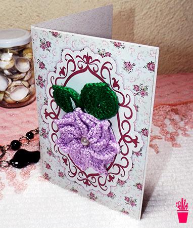 Cartão para dia dos namorados em crochê