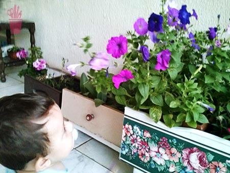 Floreira feita de gavetas