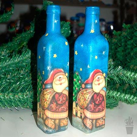 Decupagem em garrafa com tema de natal
