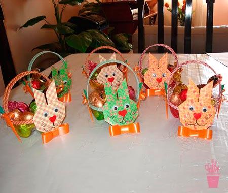 Garrafa pet e origami para cestos de páscoa