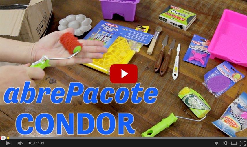 Clique e assista ao vídeo do abrePacote Condor Pincéis