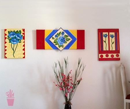 Painéis decorativos com chita