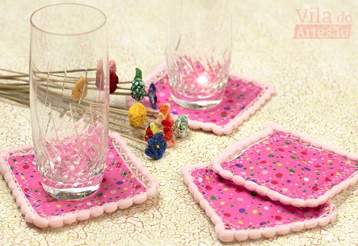 Como fazer porta-copos decorados com pompom