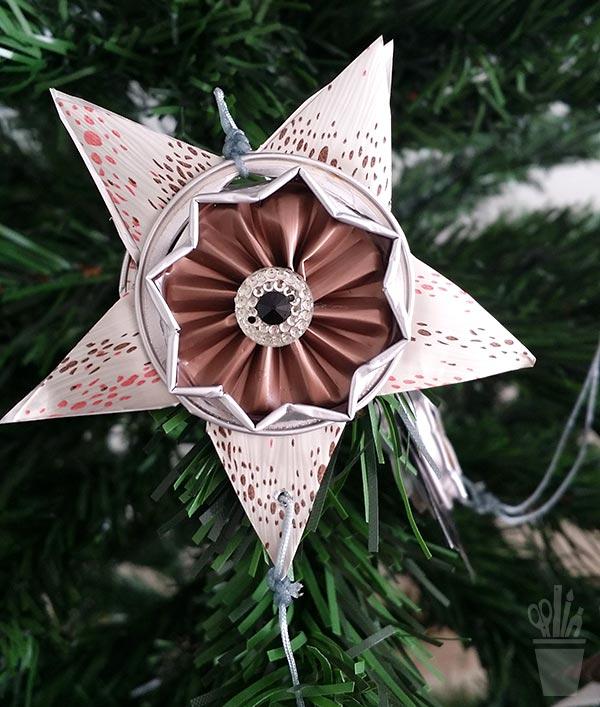 Estrela para árvore com reciclagem