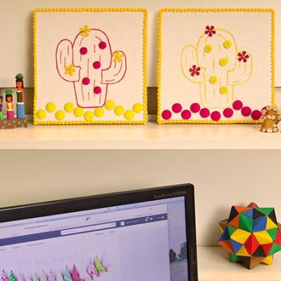 Quadrinhos de parede decorados com cactos