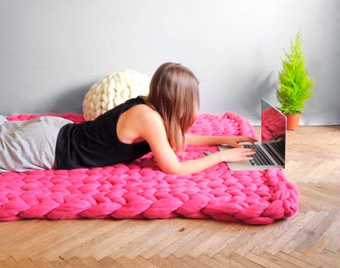 Como fazer mantas com tricô de braço