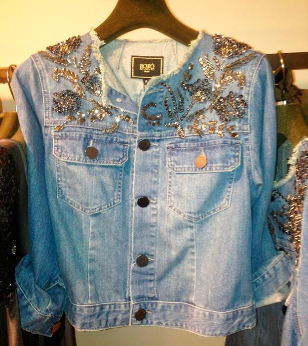 Jaqueta bordado com pedrarias