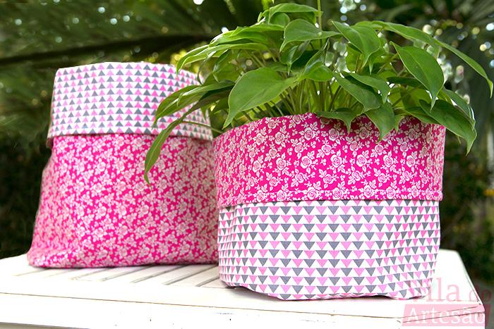 Como fazer pares de cachepôs com tecidos composê