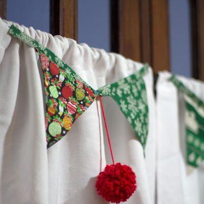 Pares de bandeirolas para a cortina
