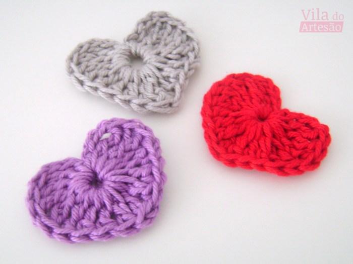Mini Coração de crochê para usos artesanais