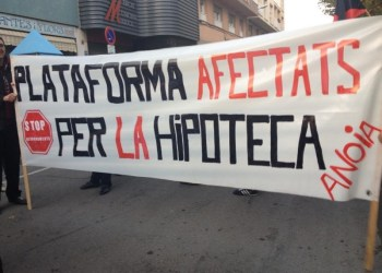 Pancarta de protesta. Foto: PAH Anoia