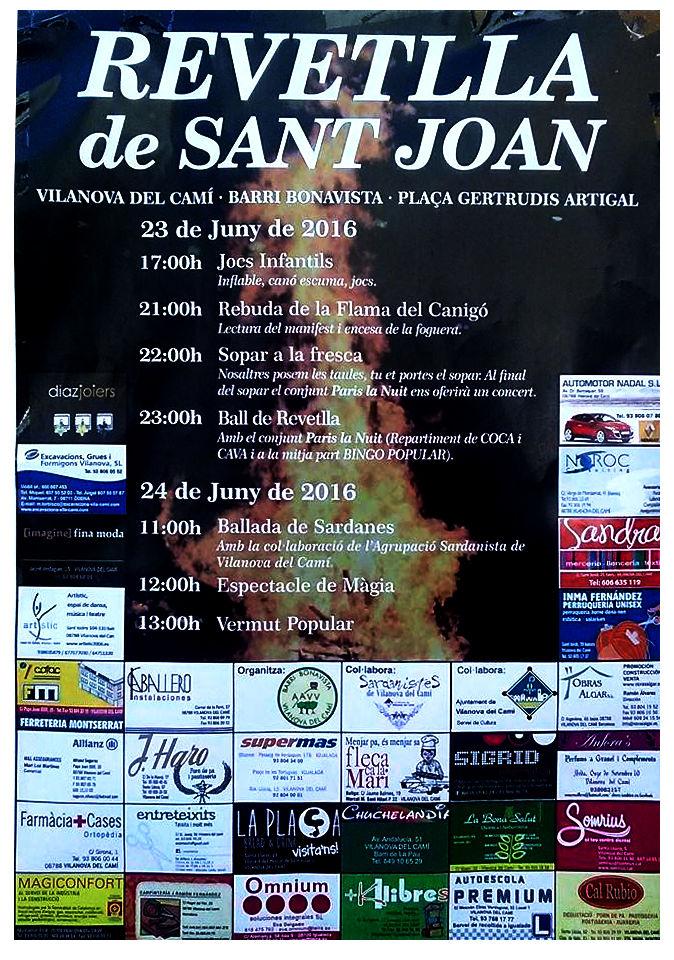 Revetlla Sant Joan 2016 cartell