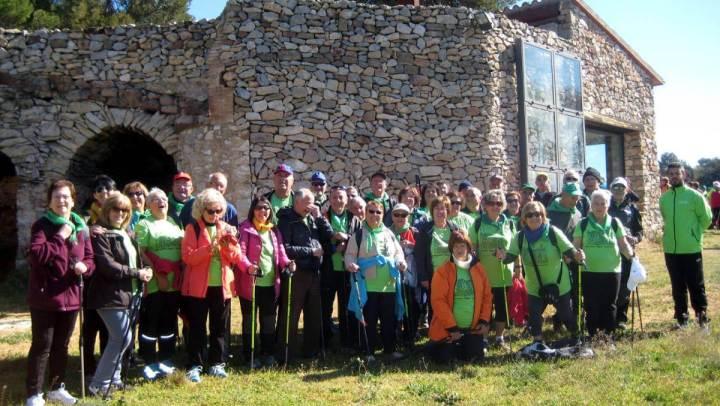 El grup vilanoví 'A cent cap als 100' passeja per les rodalies d'Artés entre camps de cereals, vinyes i boscos | FOTOS