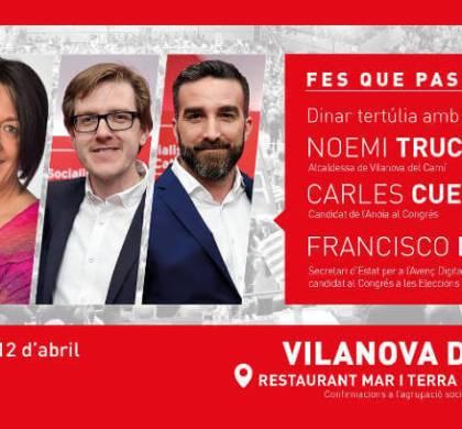 Francisco Polo, número 2 del PSC i Noemí Trucharte compartiran diferents actes a Vilanova aquest divendres