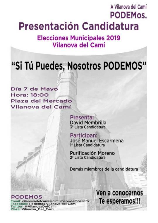 Presentacio Podemos Candidatura elecions municipals 2019-cartell