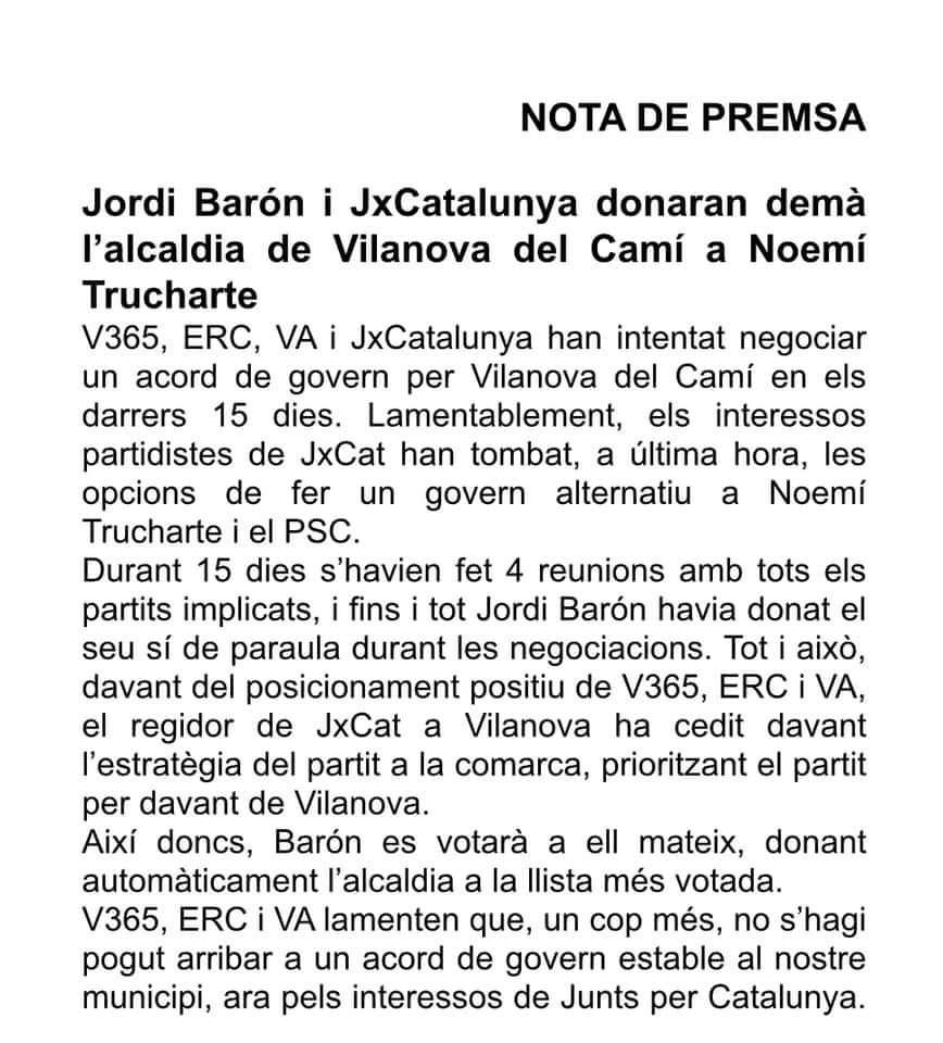 ERC escrit no acord constitucio 2019