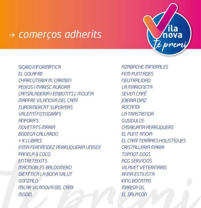 Llistat comerços adherits