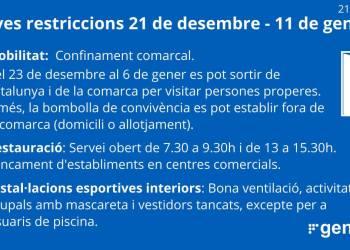 Noves mesures 21 desembre a 11 gener